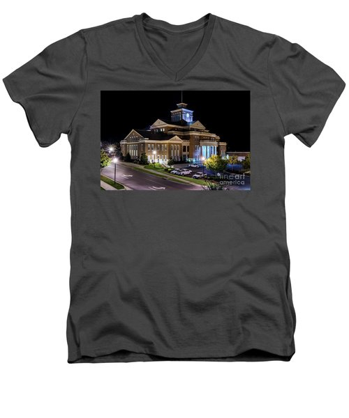 Municipal Center At Night - North Augusta Sc Men's V-Neck T-Shirt