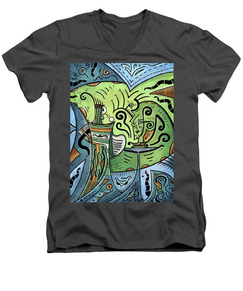 Men's V-Neck T-Shirt featuring the painting Mystical Powers by Sotuland Art