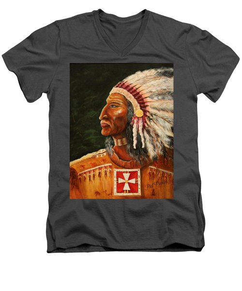 Native American Indian Chief Men's V-Neck T-Shirt