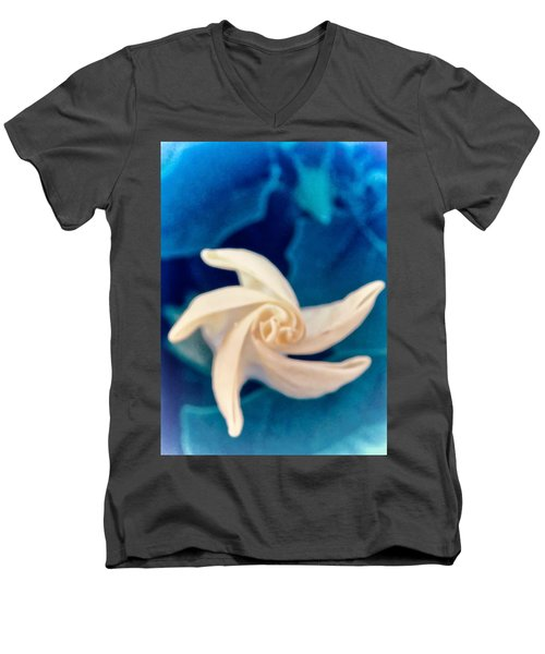 Men's V-Neck T-Shirt featuring the photograph Nature's Pinwheel - Sacred Datura by Judy Kennedy