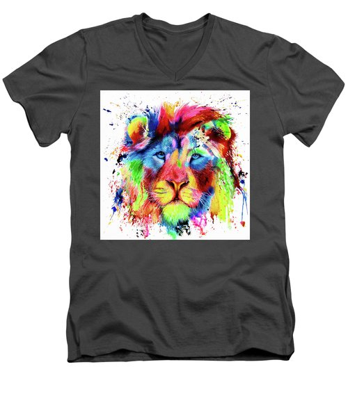 Neon Lion - Colourful Ink Spatter Painting Men's V-Neck T-Shirt