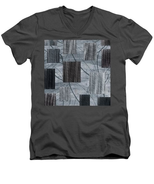 Neutral Toned Leaf Square Print Men's V-Neck T-Shirt