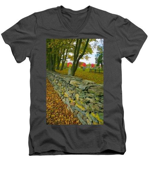New England Stone Wall 2 Men's V-Neck T-Shirt