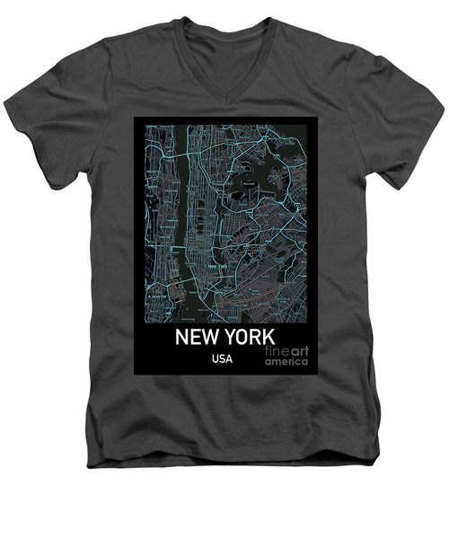New York City Map Black Edition Men's V-Neck T-Shirt