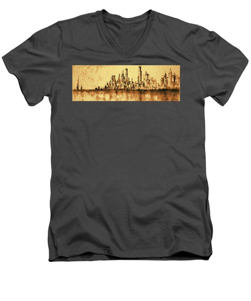 New York City Skyline 79 - Water Color Drawing Men's V-Neck T-Shirt