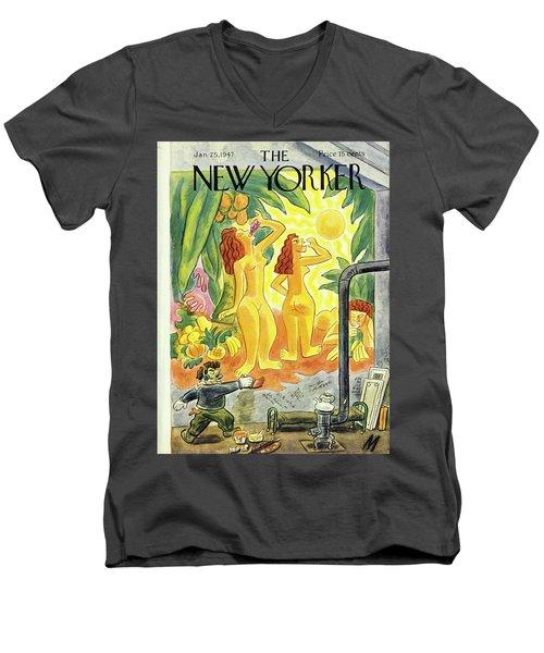 New Yorker January 25th 1947 Men's V-Neck T-Shirt