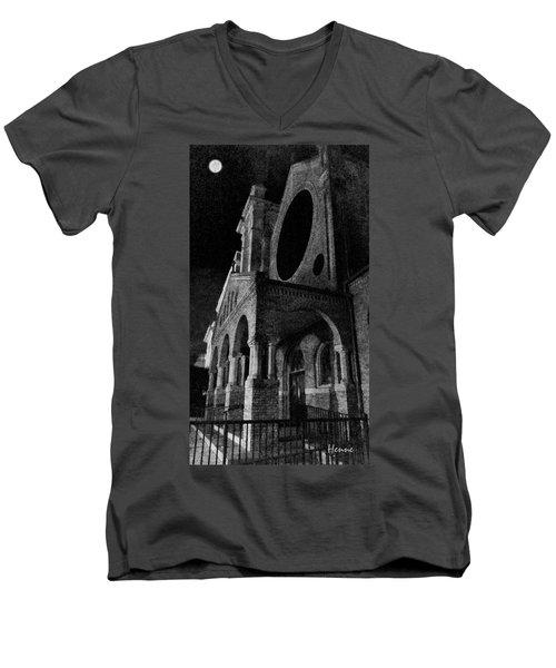 Men's V-Neck T-Shirt featuring the digital art Night Church by Robert Henne