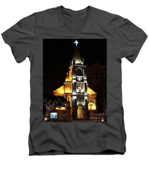 Night View Of The Holy Rosary Cathedral Men's V-Neck T-Shirt