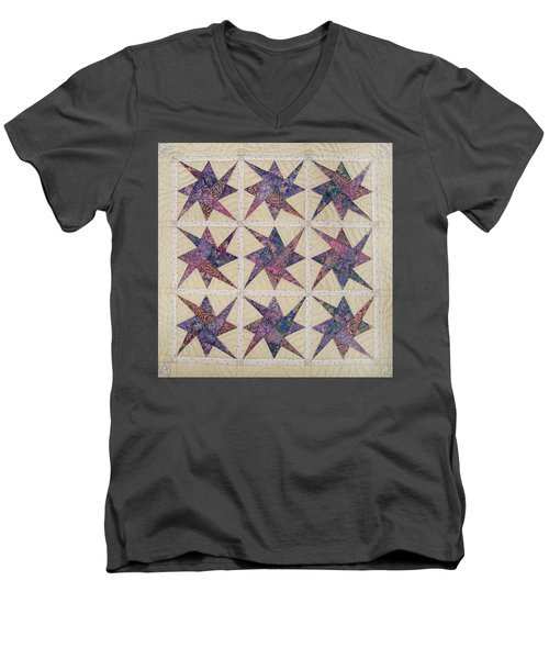Nine Stars Dipping Their Toes In The Sea Sending Ripples To The Shore Men's V-Neck T-Shirt