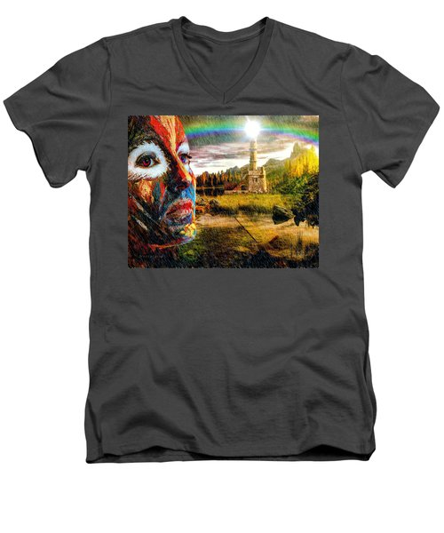 Men's V-Neck T-Shirt featuring the digital art Nostalgia by Mark Allen