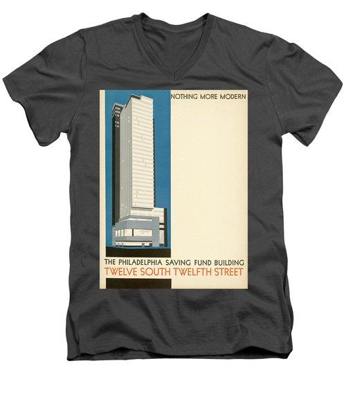 Nothing More Modern The Philadelphia Savings Fund Society Building, 1932 Men's V-Neck T-Shirt