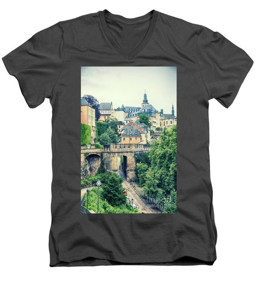 old city Luxembourg from above Men's V-Neck T-Shirt