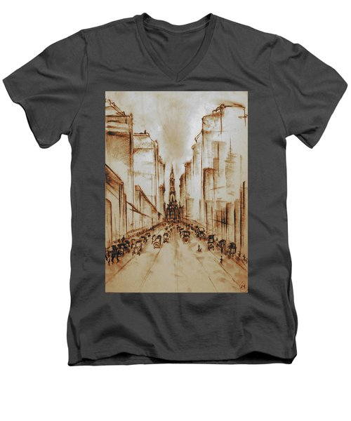Old Philadelphia City Hall 1920 - Pencil Drawing Men's V-Neck T-Shirt