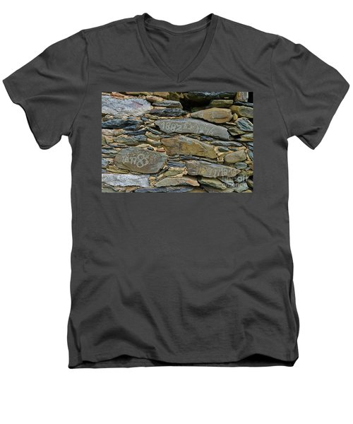 Old Schist Wall With Several Dates From 19th Century. Portugal Men's V-Neck T-Shirt