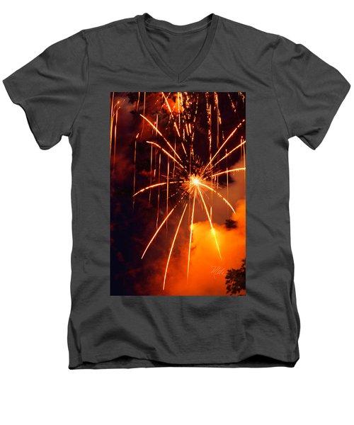 Orange Fireworks Men's V-Neck T-Shirt