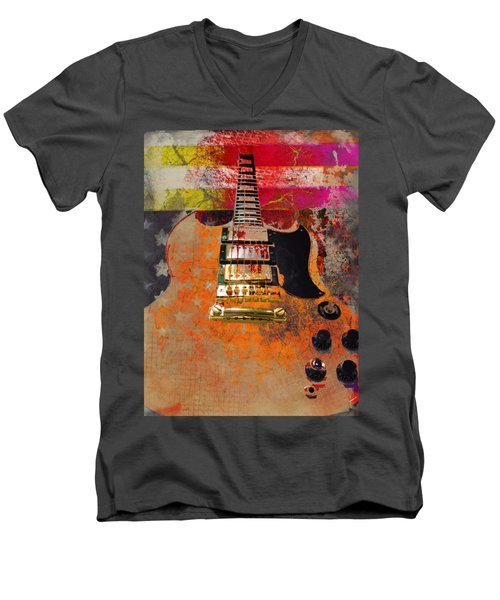 Orange Electric Guitar And American Flag Men's V-Neck T-Shirt
