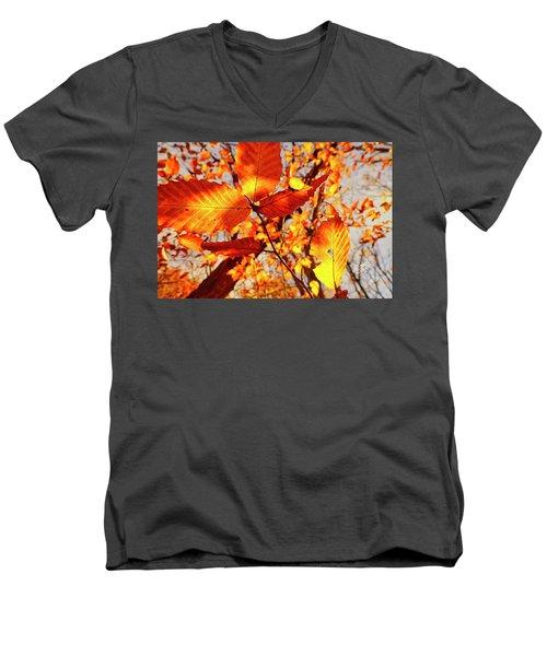 Orange Fall Leaves Men's V-Neck T-Shirt