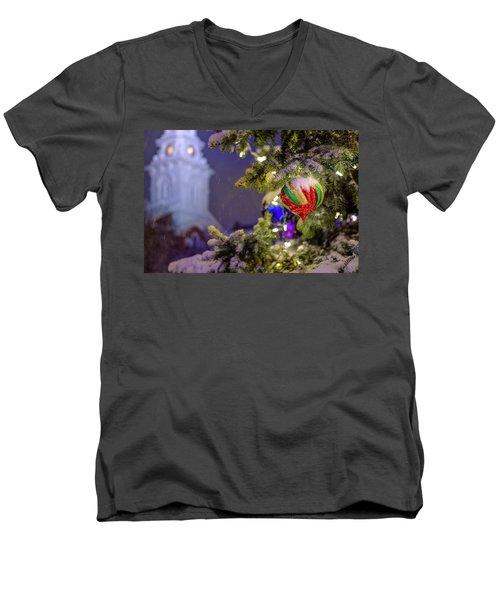 Ornament, Market Square Christmas Tree Men's V-Neck T-Shirt