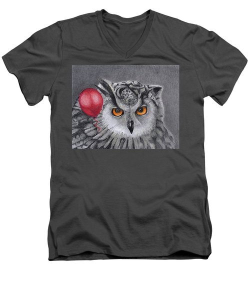 Owl With The Red Balloon Men's V-Neck T-Shirt