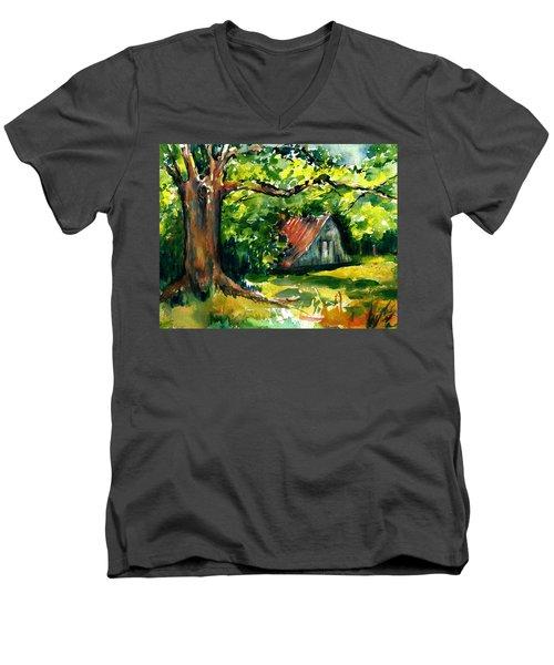 Ozarks Barn In Boxley Valley - Late Summer Men's V-Neck T-Shirt