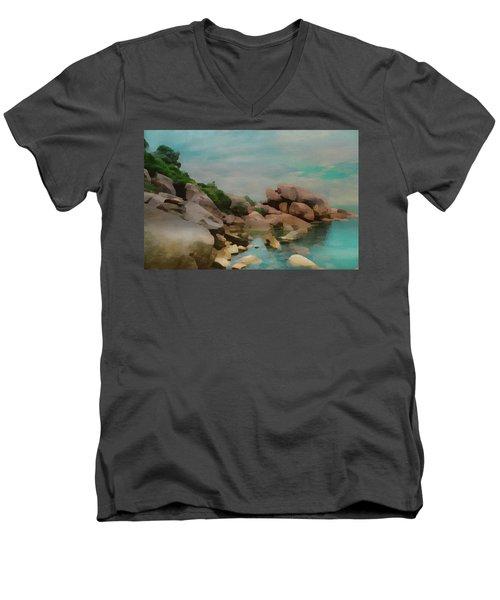 Painted Rocks At Full Tide Men's V-Neck T-Shirt
