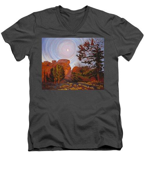 Pale Moon Over Vedauwoo Men's V-Neck T-Shirt
