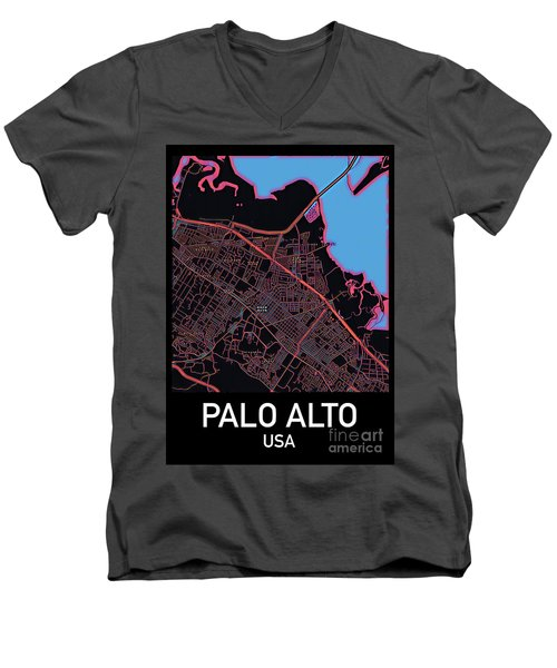 Palo Alto City Map Men's V-Neck T-Shirt