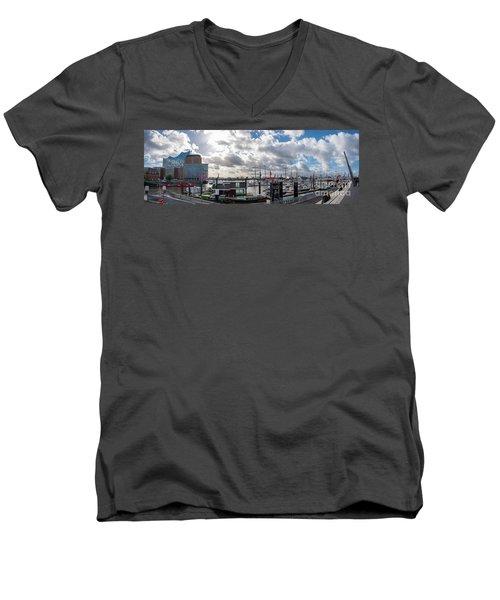 Panoramic View Of Hamburg Men's V-Neck T-Shirt