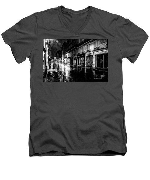 Paris At Night - Rue Saints Peres Men's V-Neck T-Shirt