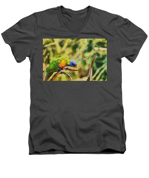 Men's V-Neck T-Shirt featuring the painting Parrot Paradise by Harry Warrick