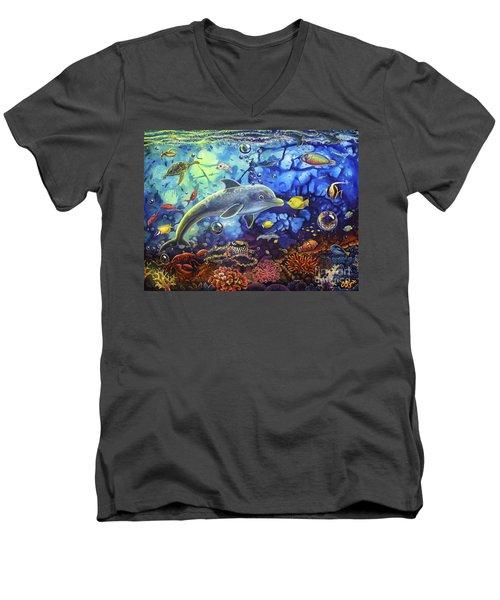 Past Memories New Beginnings Dolphin Reef Men's V-Neck T-Shirt