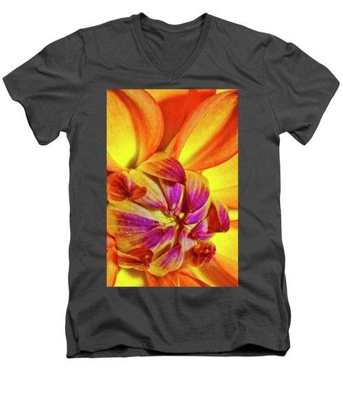 Peach Purple Flower Men's V-Neck T-Shirt