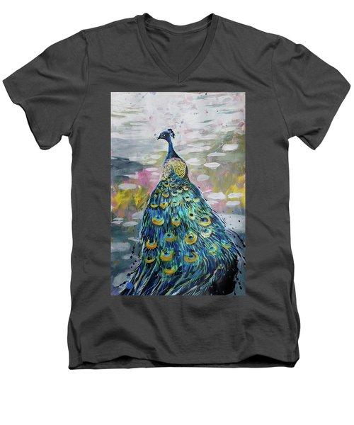 Peacock In Dappled Light Men's V-Neck T-Shirt