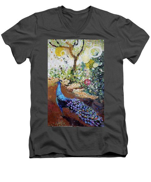 Peacock On Path Men's V-Neck T-Shirt