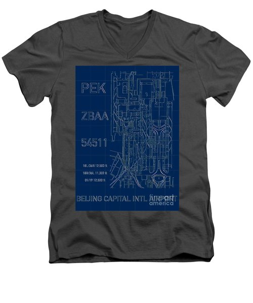Pek Beijing Capital Airport Blueprint Men's V-Neck T-Shirt