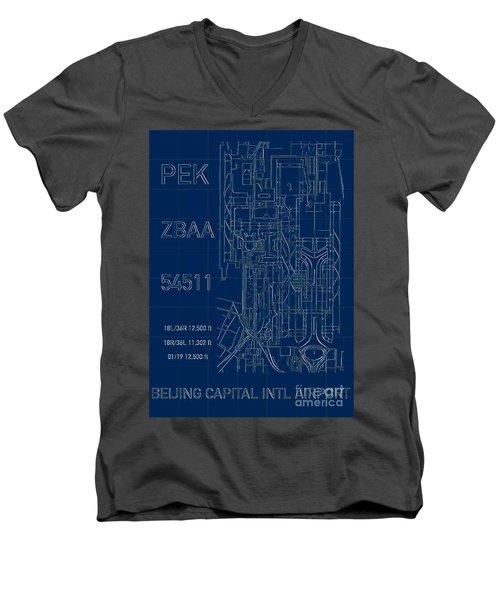 Pek Beijing Capital Airport Blueprint Men's V-Neck T-Shirt