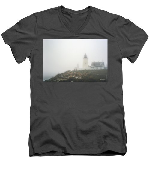 Men's V-Neck T-Shirt featuring the photograph Pemaquid Point Lighthouse In The Fog by Tim Kathka