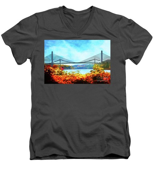 Penobscot Narrows Bridge In Autumn Men's V-Neck T-Shirt