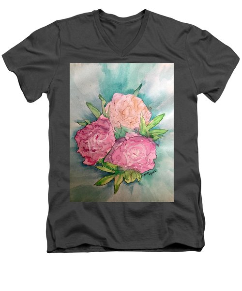 Peonie Roses Men's V-Neck T-Shirt