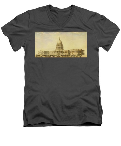 Perspective Rendering Of United States Capitol Men's V-Neck T-Shirt