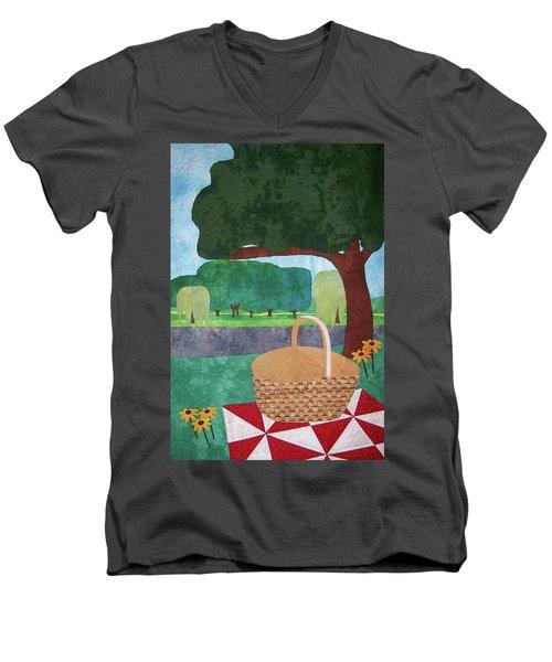 Picnic At Ellis Pond Men's V-Neck T-Shirt