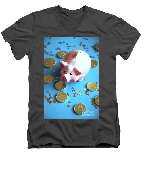 Piggy Bank On The Background With The  Chocoladen Coins Men's V-Neck T-Shirt