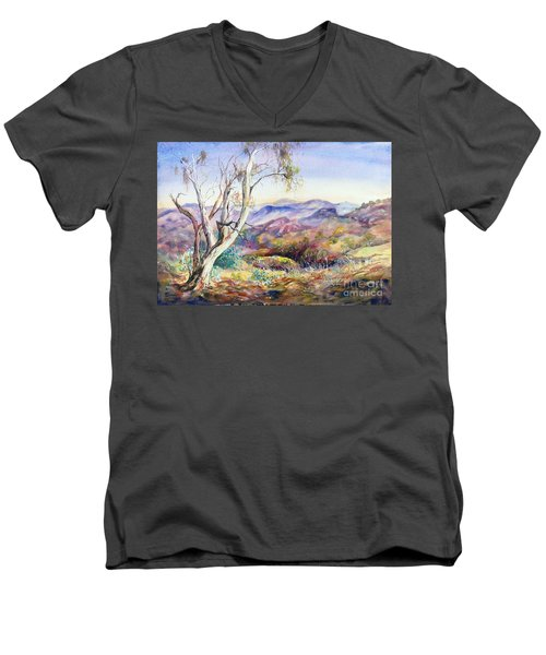 Men's V-Neck T-Shirt featuring the painting Pilbara, Hamersley Range, Western Australia. by Ryn Shell