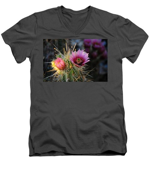 Pink Cactus Flower Men's V-Neck T-Shirt