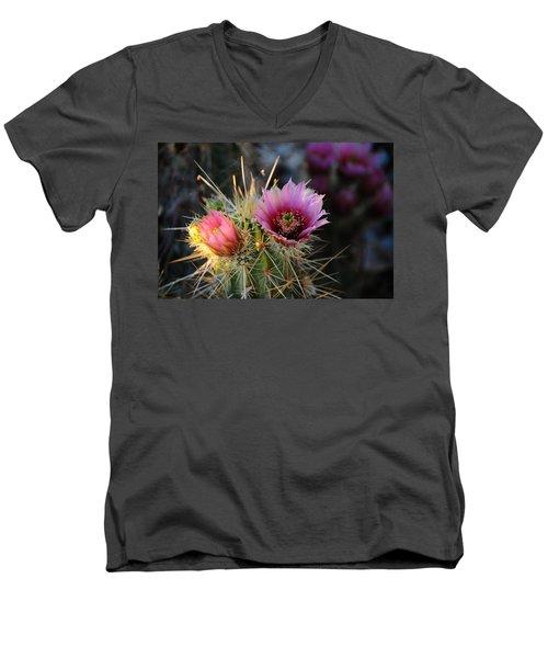 Pink Cactus Flower Men's V-Neck T-Shirt