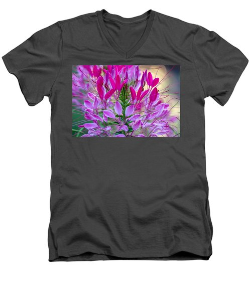 Pink Queen Flower Men's V-Neck T-Shirt