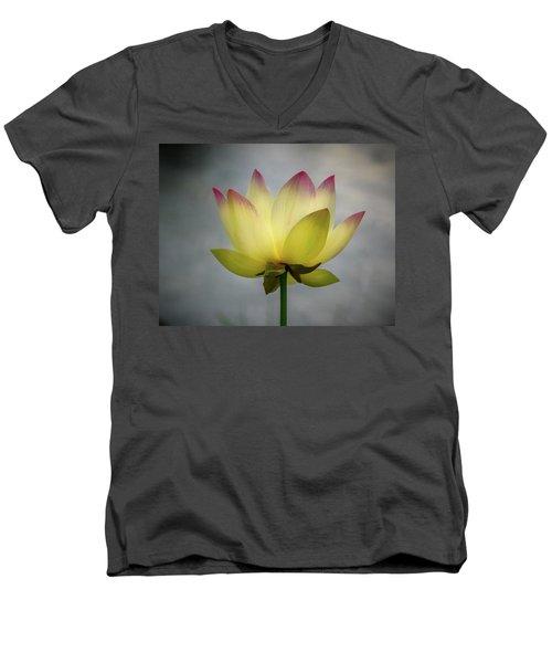 Pink Tipped Lotus Men's V-Neck T-Shirt