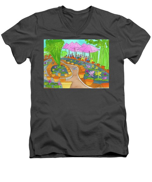 Pink Umbrella And Lilies Men's V-Neck T-Shirt