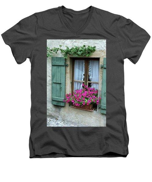 Pink Window Box Men's V-Neck T-Shirt