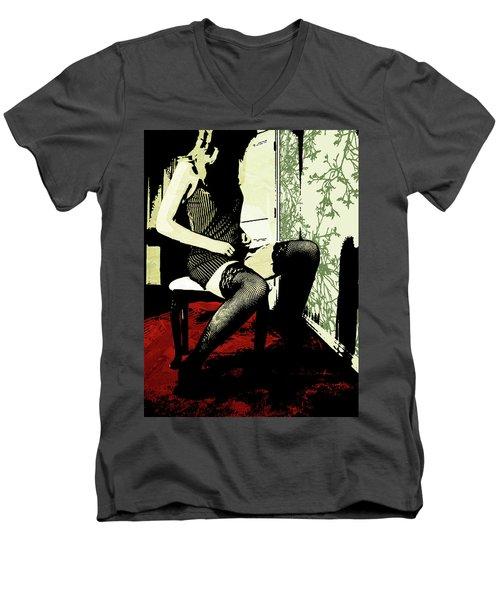 Pinstripes Men's V-Neck T-Shirt